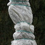 Ein Baum ist zum Winterschutz für Pflanzen in eine Schutzfolie gehüllt.