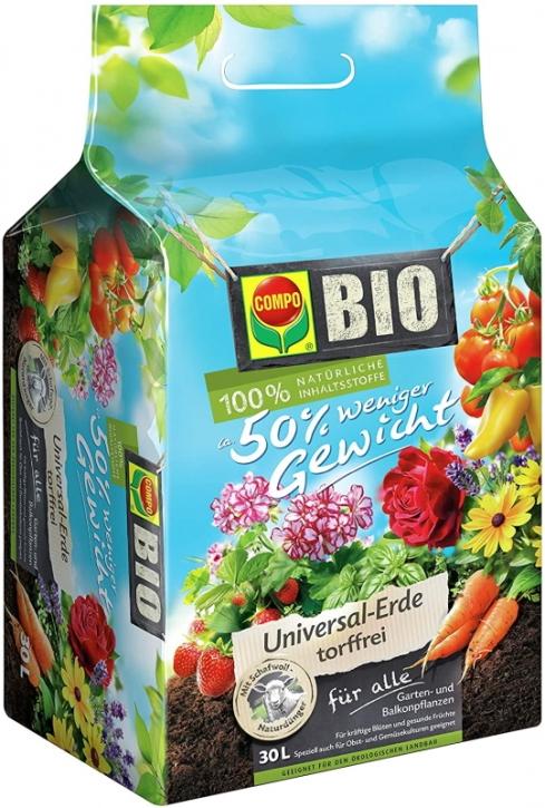 COMPO® Bio-Erde 50 Prozent weniger Gewicht