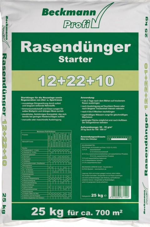 25 kg Rasen Dünger Starter BIG Profi für ca. 700 m²
