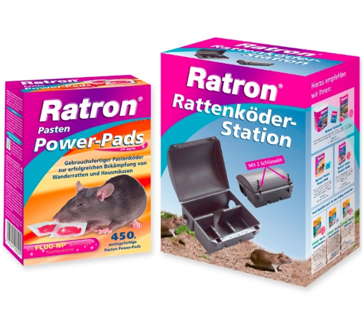 Ratron Power Pads 450g +Rattenköder Station Sparset