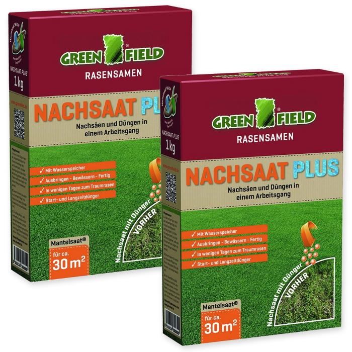 Rasen Nachsaat Plus Mantelsaat Greenfield 2 kg Sparpack für ca. 60 m²