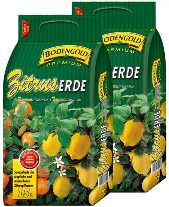 Zitruserde 2 x 15 Liter Bodengold Premium Citrus-Spezialerde Blumenerde 30 L