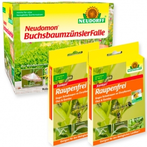 Buchsbaumzünsler Falle + 4 x 3 g Raupenfrei Xentari Set