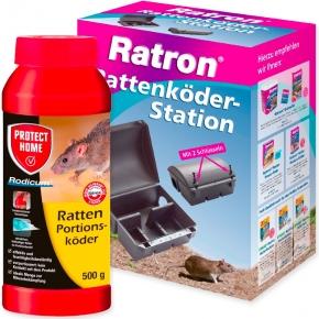 Rattenköder Station + Ratten Portionsköder Rodicum 500g Kombiset